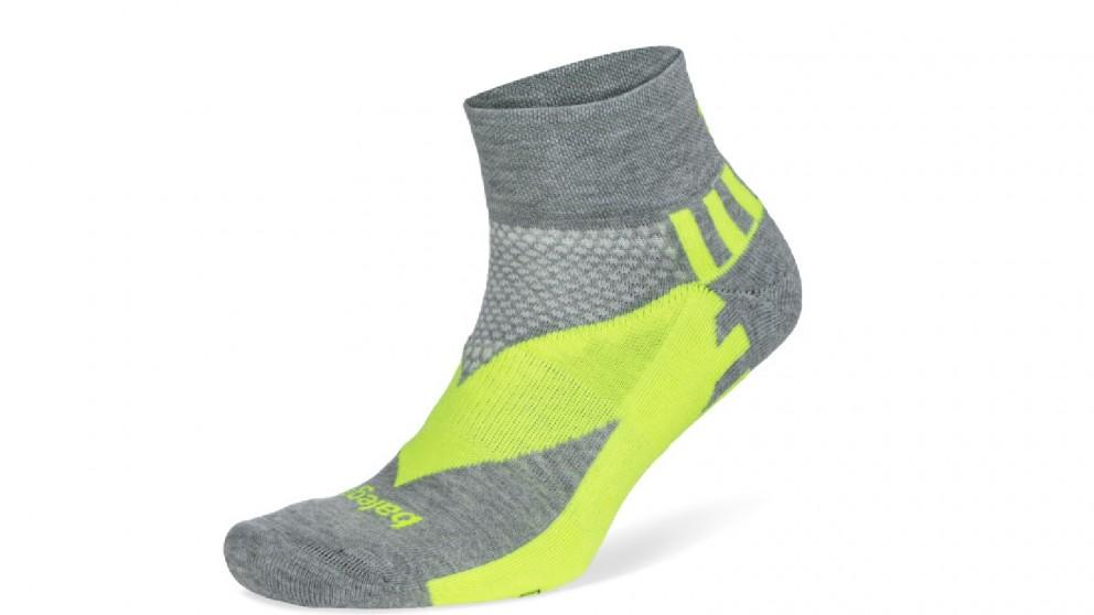 Balega Enduro Reflective Quarter Midgrey/Neon Socks - Large