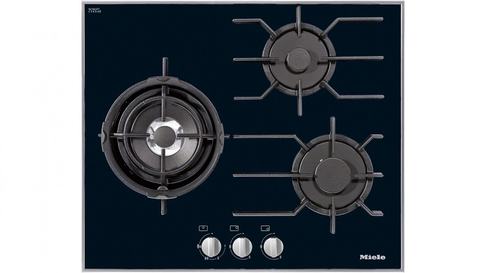 Miele Cleansteel 620mm 3 Burner Natural Gas Cooktop - Black