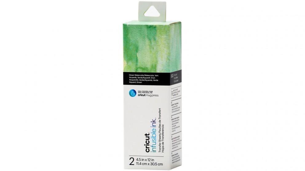 Cricut 2-Sheet 4.5x12-inch Infusible Ink Transfer Sheet Pattern for Cricut Mug Press - Green Watercolour