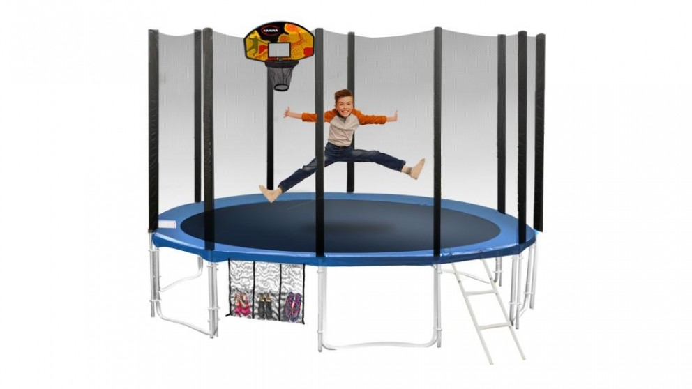 Blizzard 12ft Blue Trampoline with Basketball Set