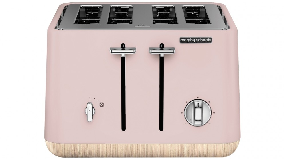 Morphy Richards Scandi Wooden Trim 4 Slice Toaster - Dusty Pink