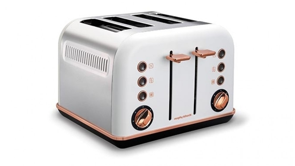 Morphy Richards Accents Rose Gold 4 Slices Toaster - White