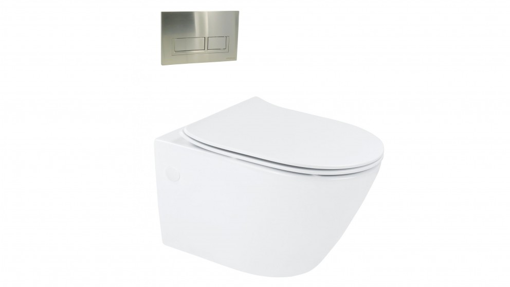 Arcisan Synergii Wall Hung Pan with In Wall Cistern and Xoni Satin Nikel Flush Panel
