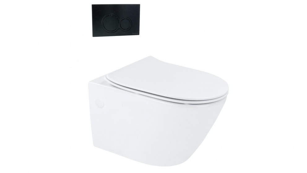 Arcisan Synergii Wall Hung Pan with In Wall Cistern and Kibo Matte Black Flush Panel