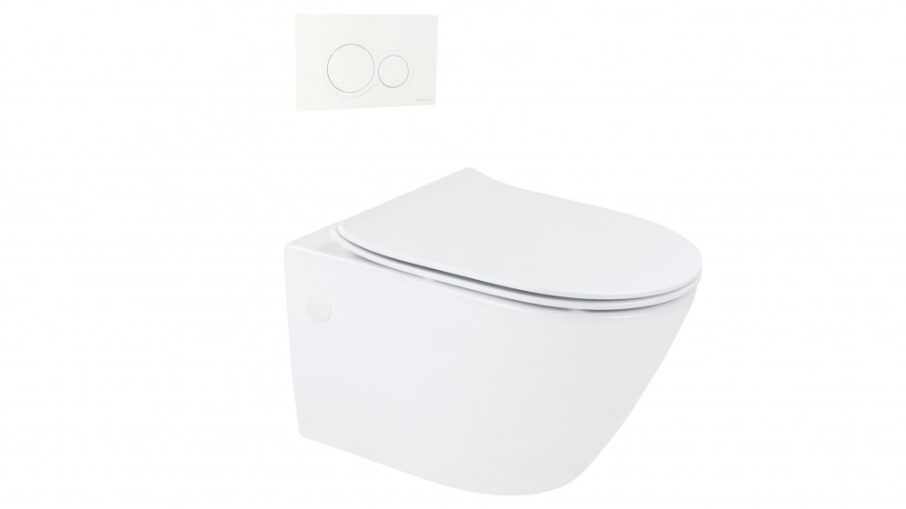 Arcisan Synergii Wall Hung Pan with In Wall Cistern and Kibo White Flush Panel