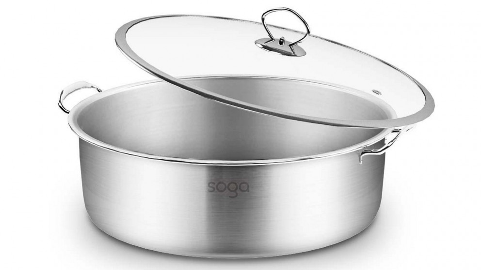 SOGA 26cm Casserole With Lid Induction Cookware - Stainless Steel