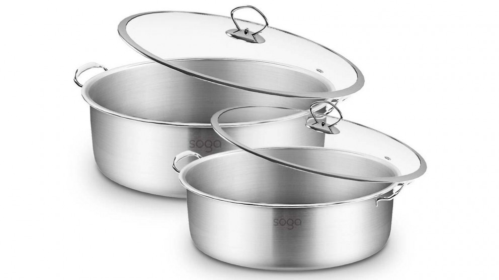 SOGA 26cm and 32cm Casserole With Lid Induction Cookware - Stainless Steel