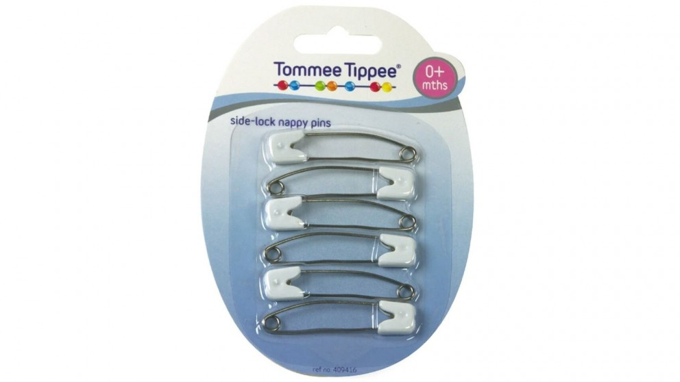 Tommee Tippee 6-Piece Slide Lock Nappy Pins for 0months Plus Baby
