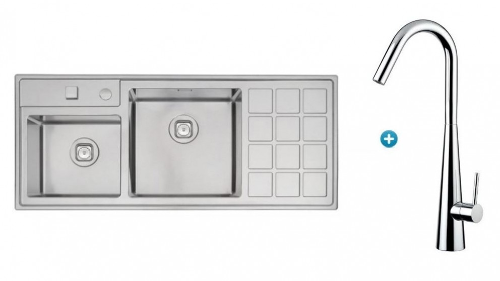 Linsol Tramontina Plus Double Bowl Sink & Aria Kitchen Mixer Package