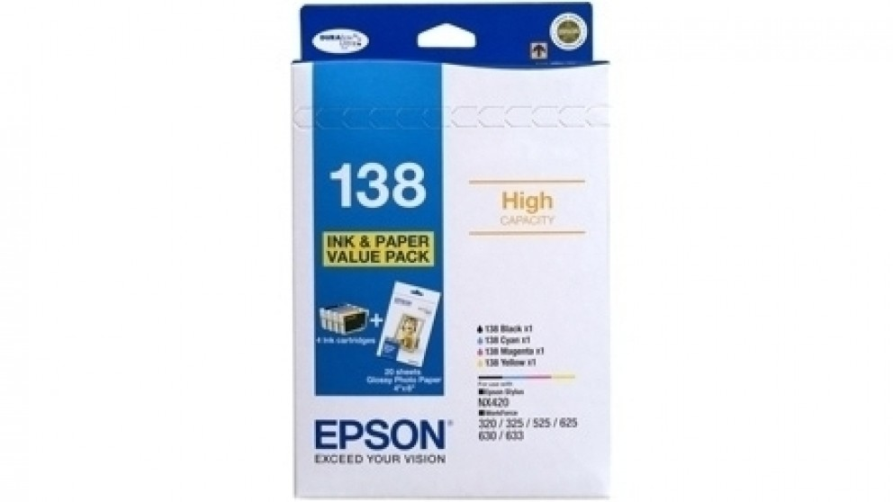 Epson 138BP High Capacity DURABrite Ultra Ink Cartridge Value Pack