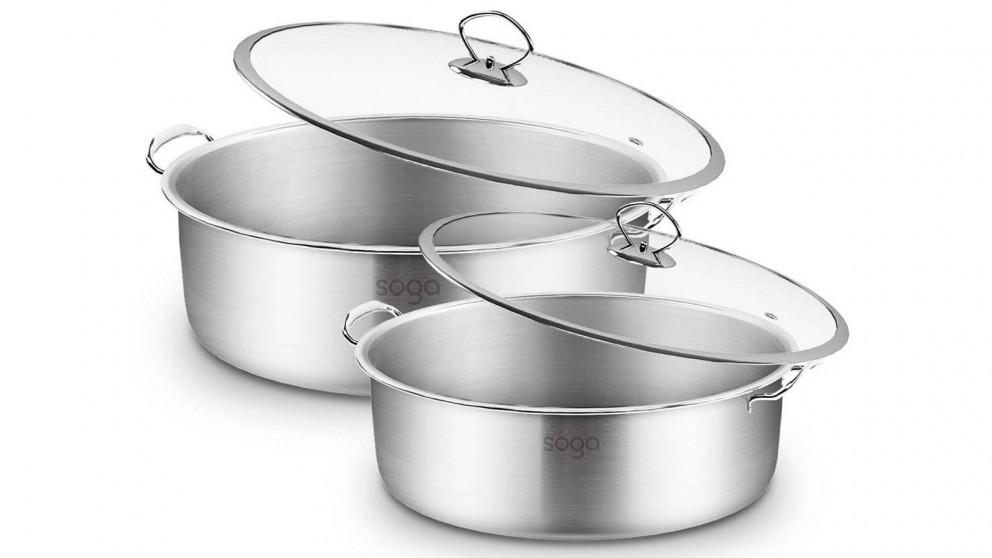 SOGA 28cm and 32cm Casserole With Lid Induction Cookware - Stainless Steel