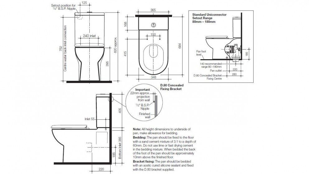 Caroma Metro Wall Faced Toilet Suite