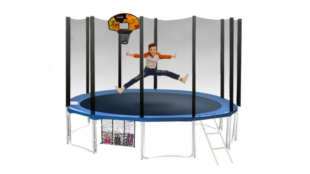 Blizzard 14ft Blue Trampoline with Basketball Set