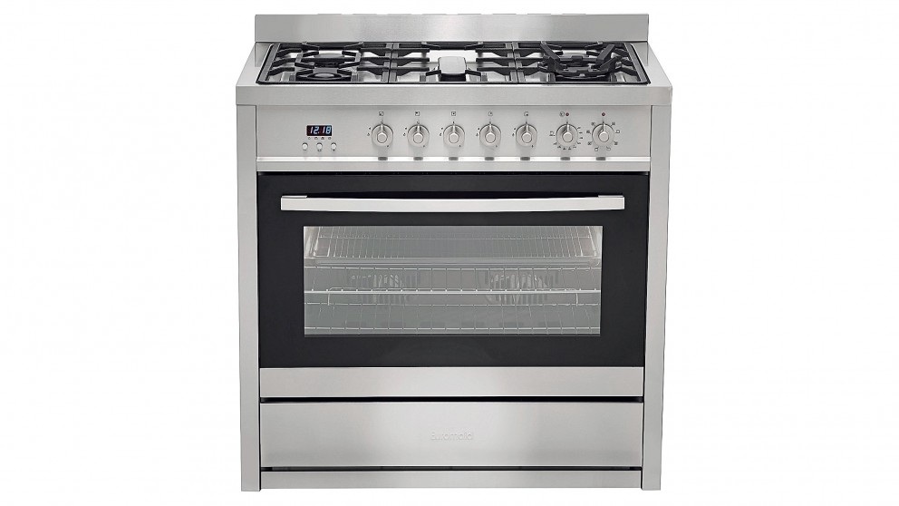 Euromaid 900mm Freestanding Electric Oven With Double Wok Gass Cooktop