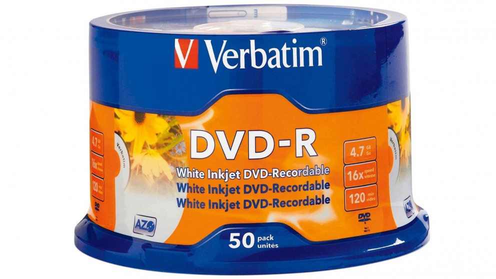 graphic regarding Ink Jet Printable Dvd called Verbatim DVD-R 4.78GB White Inkjet - 50 Pack
