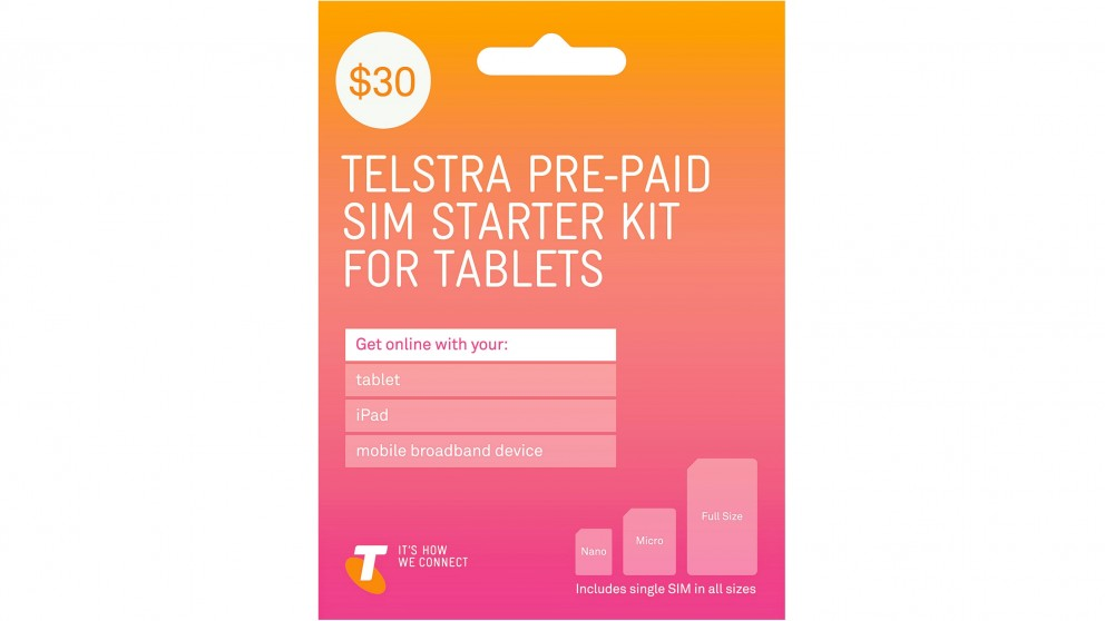 Cheap Telstra 30 Pre Paid Sim Starter Kit For Tablets Harvey Norman Au