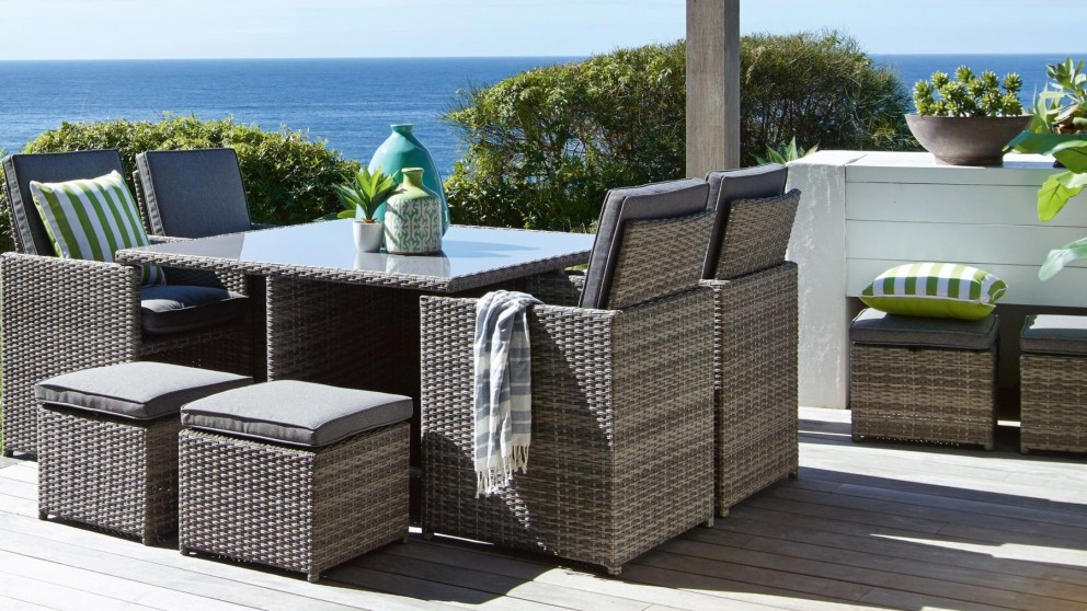 Mours 9 piece outdoor square dining setting outdoor for Outdoor furniture harvey norman