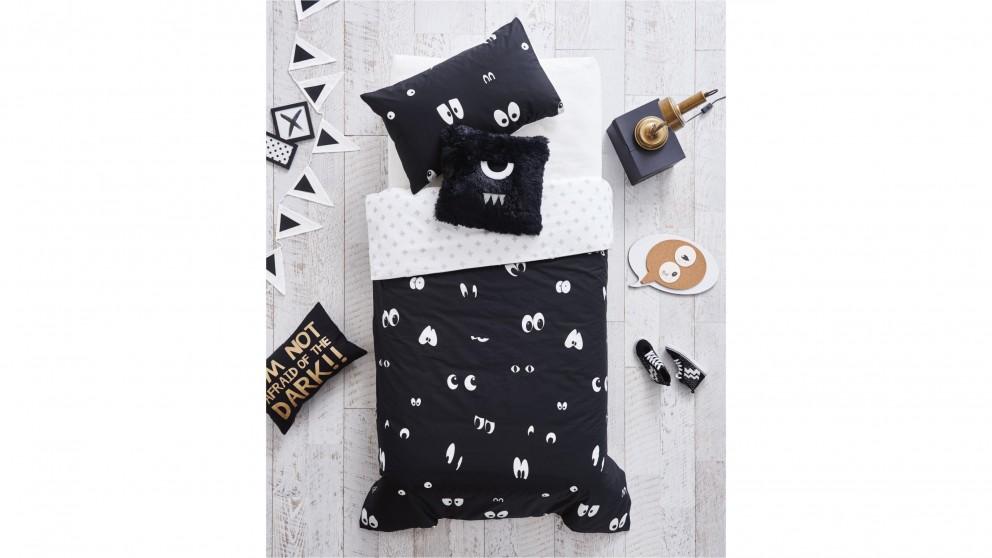 Peek A Boo Quilt Cover Set - Black