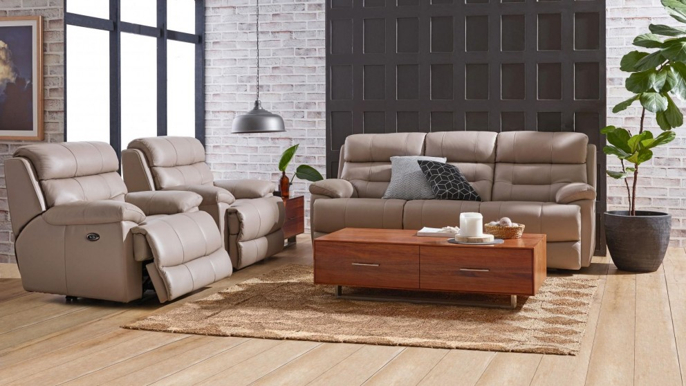 Buy Alphin 3 Piece Powered Leather Recliner Lounge Suite