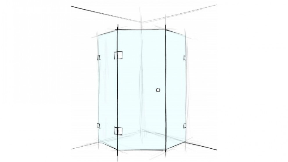 Verotti Custom S Played 1200m Hexagon Corner Set In 3 Panels Bracket Shower Screen - Clear