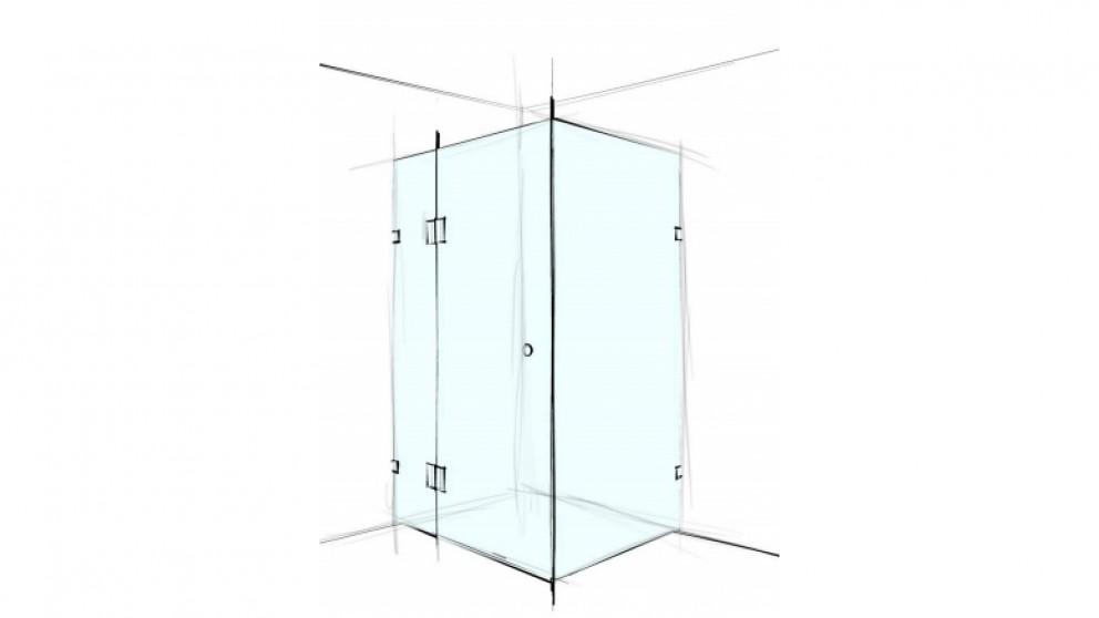 Verotti Custom 1200m Front/Return Square Corner Set In 3 Panels Bracket Shower Screen - Clear