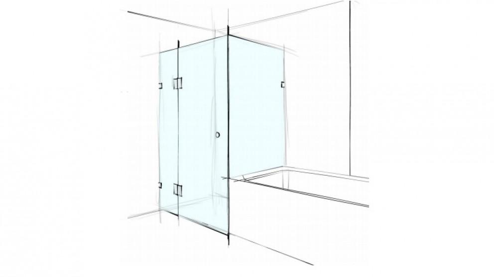 Verotti Custom 1200m Square Corner Set In 3 Panels Bracket Shower Screen - Clear