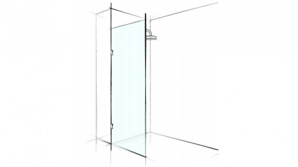 Verotti Custom 1000mm Front Only Fix Panel Bracket Shower Screen - Clear