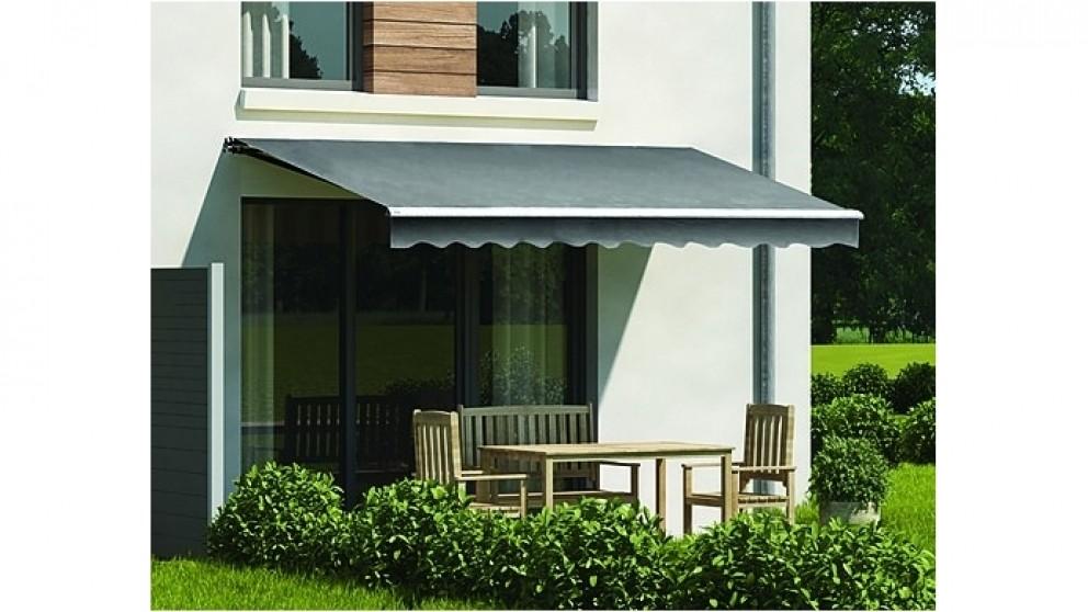Serrano Motorised Outdoor Folding Arm Awning Retractable Sunshade Canopy Grey
