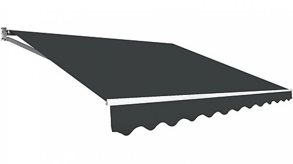Serrano Outdoor Folding Arm Awning Retractable Sunshade Canopy Grey without Motor