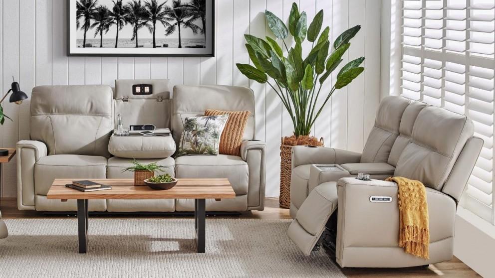 Leura Leather Powered Recliner Sofa