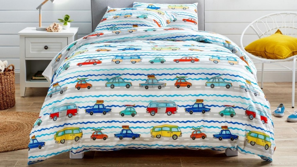 Traffic Cars Quilt Cover Set - Single