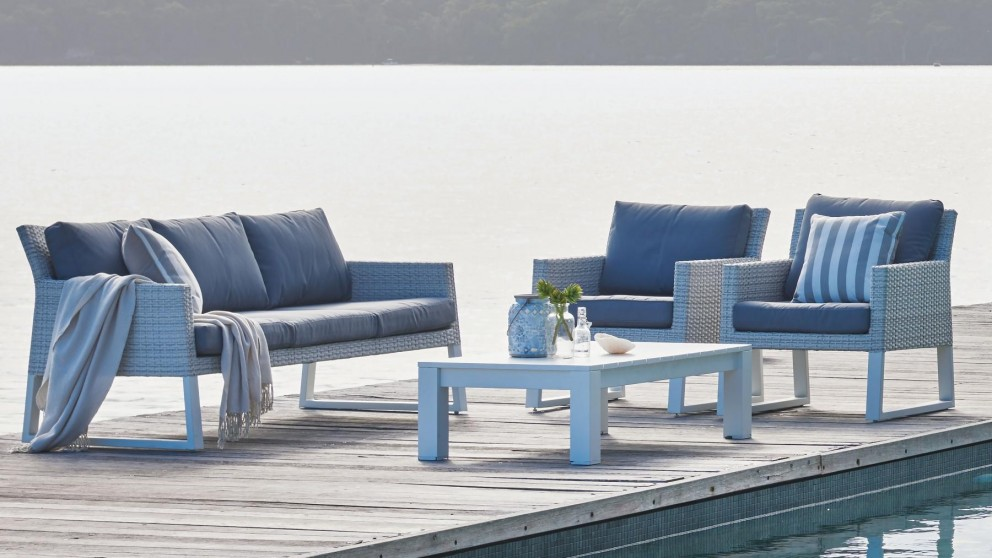 Buy quay 4 piece outdoor lounge setting harvey norman au for Furniture quay