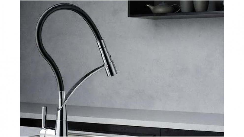 Dorf Inca Pulldown Sink Mixer Chrome & Black