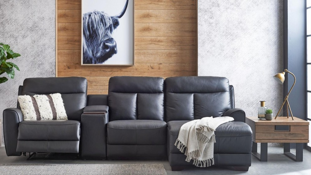 Elva 3 Seater Powered Leather Recliner Sofa With Chaise Part 78