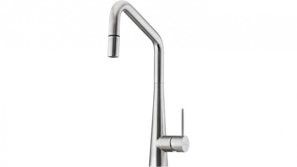 Oliveri Essente Square Goose Neck Pull Out Mixer - Stainless Steel