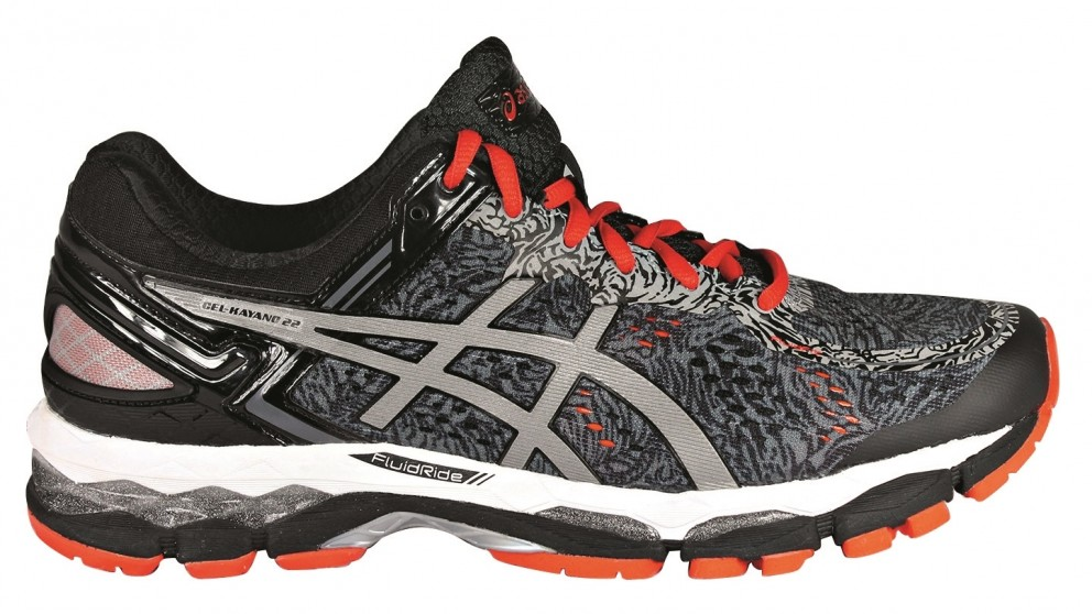 Asics Gel-Kayano 22 Grey Red Running Shoes Lite-Show Mens