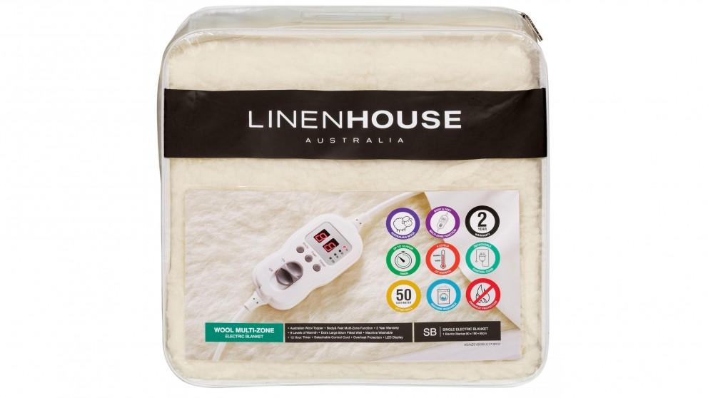 Linen House Wool Multi Zone Electric Blanket  -  Queen