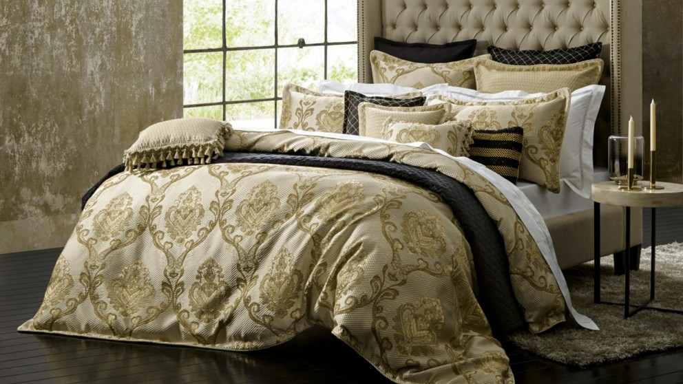 Castille Gold Quilt Cover Set - Queen