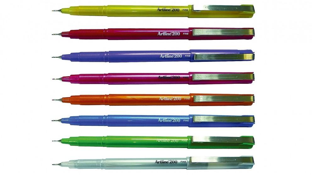 Artline 200 Fineline Pen 0.4mm 2 Pack - Bright Pink