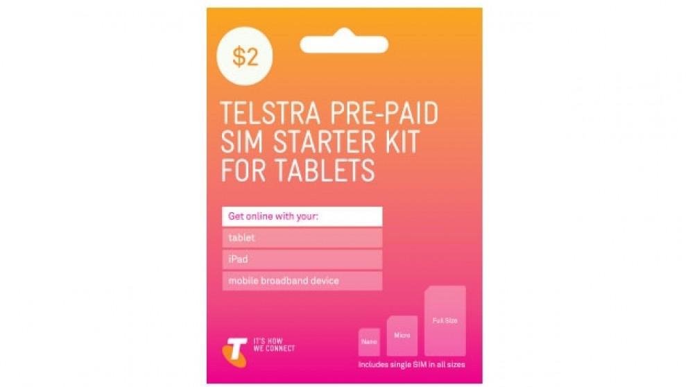 Telstra $2 Pre-Paid Standard/Micro/Nano Tablet Sim Starter Kit
