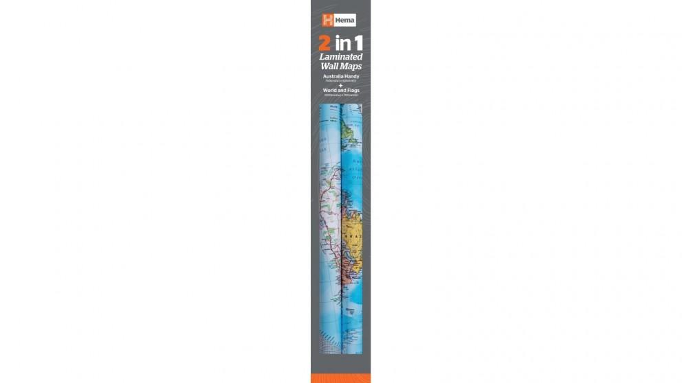 Hema Maps 2 in 1 Twin Pack Australia and World Wall Maps
