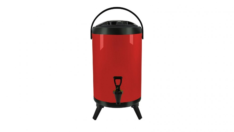 Soga 8L Stainless Steel Milk Tea Barrel with Faucet - Red
