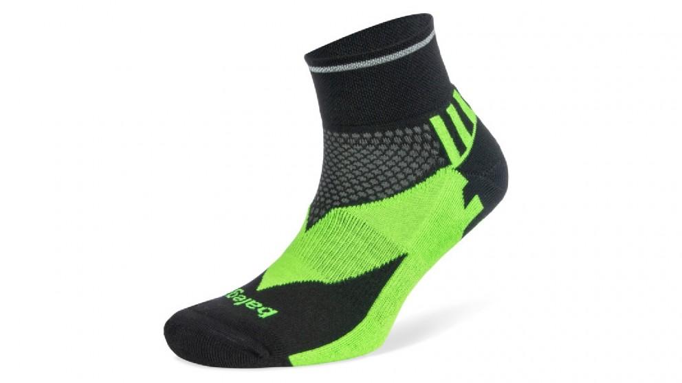 Balega Enduro Reflective Quarter Black/Neon Socks - Large