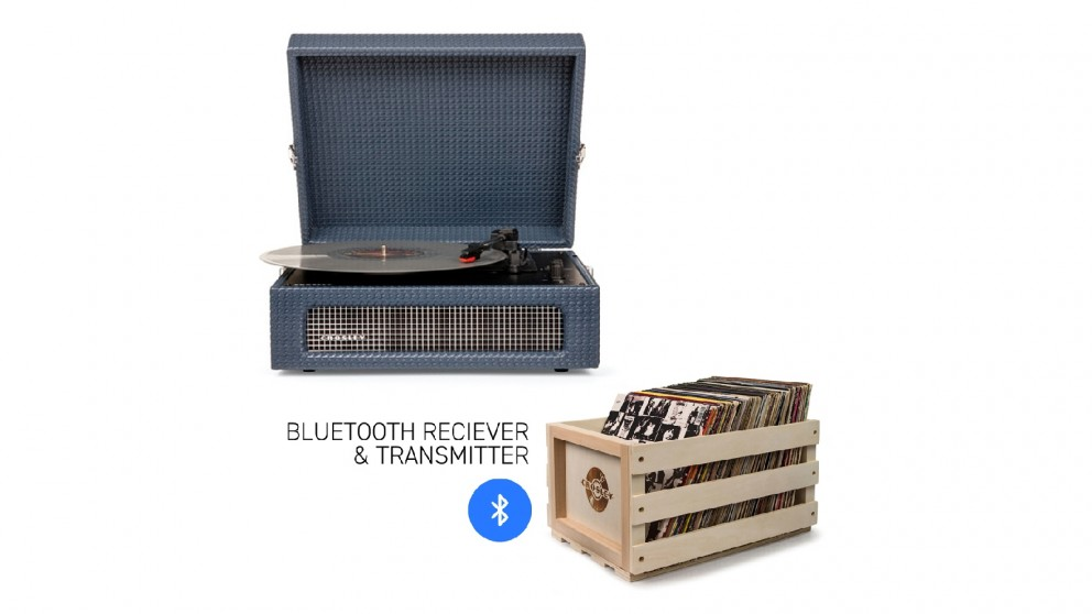 Crosley Voyager Bluetooth Portable Turntable + Bundled Record Storage Crate - Navy
