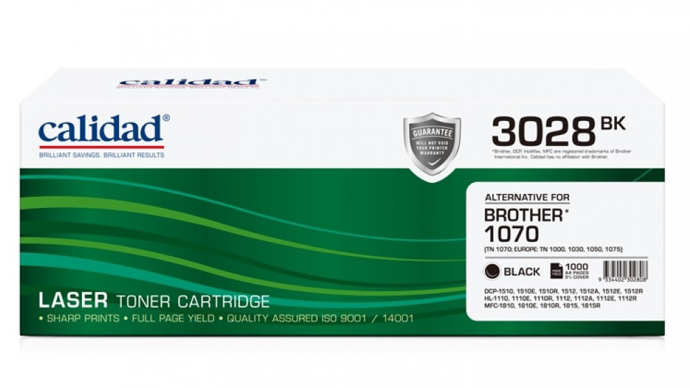 Calidad Brother TN-1070 Toner - Black
