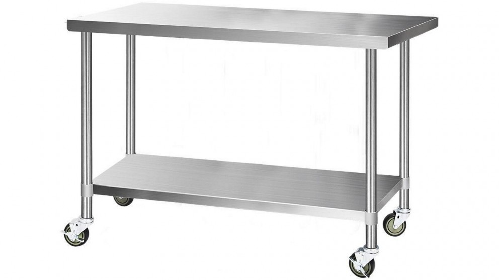 Cefito 152.4cmx76cm Stainless Steel Kitchen Bench Prep Table with Wheels