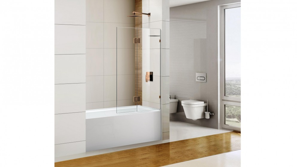 Cartia Jazz 900mm Fix and Swing with Nano Protection Glass Shower Screen - Rose Gold