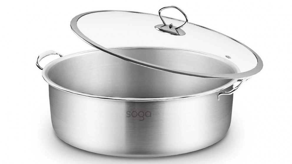 SOGA 32cm Casserole With Lid Induction Cookware - Stainless Steel