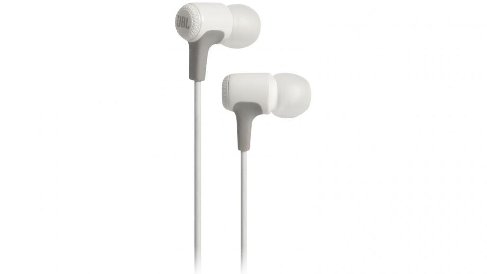 2697e8af1f3 Buy JBL E15 In-Ear Headphones - White | Harvey Norman AU
