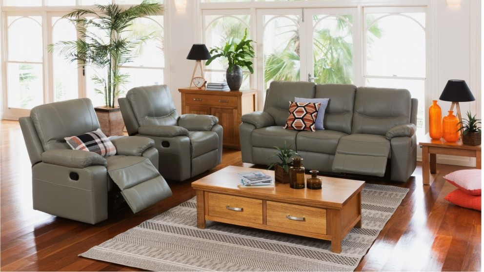 Skyview 3 Piece Leather Recliner Lounge Suite